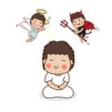Een jongen die met engel en duivel mediteren Stock Foto