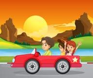 Een jongen die met twee leuke meisjes reizen stock illustratie