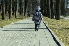 Een jongen die van de één éénjarigebaby sommige van zijn eerste maatregelen in openlucht in de lentepark treffen Achtermening stock afbeelding