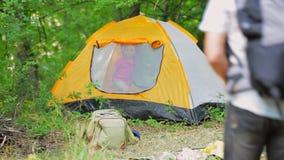 Een jongen in een tent in het bos stock videobeelden