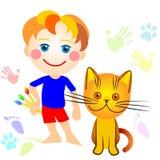 Een jongen en een kattentekening Royalty-vrije Stock Foto's