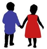 Een jongen en een meisjesvrienden, hand in hand Stock Fotografie