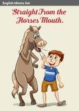 Een jongen en een paard stock illustratie