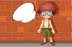 Een jongen en een toespraakbel Stock Foto