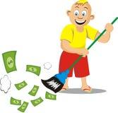 Een jongen geveegd geld Stock Afbeeldingen