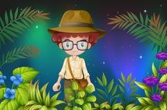Een jongen met een oogglas en een hoed Stock Afbeeldingen