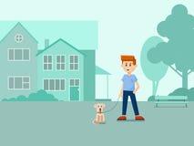 Een jongen met een hond op de straat Vlakke illustratie vector illustratie