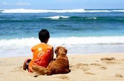 Een jongen met zijn hond Stock Afbeeldingen