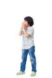 Een jongen schreeuwt Royalty-vrije Stock Foto's