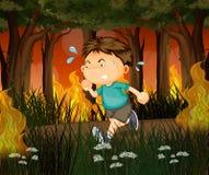 Een jongen vanaf wildfire bos in werking dat wordt gesteld dat royalty-vrije illustratie