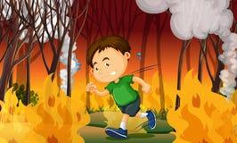 Een Jongen in Wildfire wordt geplakt die royalty-vrije illustratie