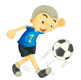 Een jongens speelvoetbal Stock Foto's