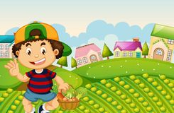 Een jongensoogst vegetabe stock illustratie