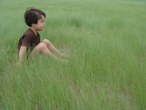 Een jongenszitting in een lang groen gras Royalty-vrije Stock Afbeelding