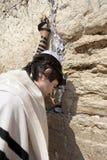 Joodse Mens die bij de Westelijke Muur bidden Royalty-vrije Stock Afbeelding