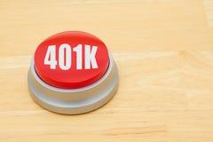 Een 401k rode drukknop royalty-vrije stock afbeeldingen
