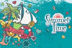 Een kaart met de zomer en overzeese krabbels met een witte boot Stock Foto