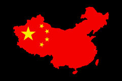 Een kaart van China met haar vlag op het Stock Fotografie