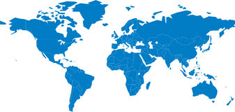 Een kaart van de wereld Stock Afbeeldingen