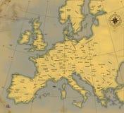 Een kaart van Europa is in eeuwenoude stijl Stock Illustratie