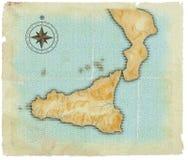 Een kaart van Sicilië is in eeuwenoude stijl Vector Illustratie