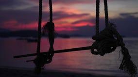 Een kabelschommeling hangt van een boom dichtbij het overzees tijdens mooie zonsondergang Langzame Motie 3840x2160 stock footage