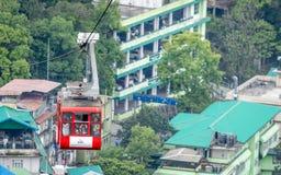 Een kabelwagen die bij de hoofdstad van Sikkim, Gangtok, India werken royalty-vrije stock foto's