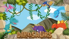 Een kader van dinosaurussen royalty-vrije illustratie