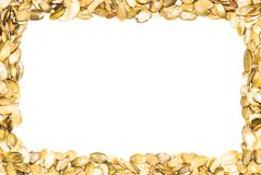 Een kader van pompoenzaden dat wordt gemaakt Royalty-vrije Stock Afbeeldingen
