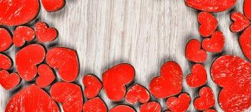 Een kader van rode harten De dag van de valentijnskaart `s Stock Foto's