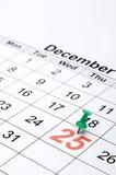 Een kalender met duidelijke de dag van Kerstmis Royalty-vrije Stock Foto's