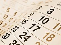 Een kalenderpagina Stock Foto