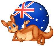 Een kangoeroe voor de bal met de Australische vlag royalty-vrije illustratie