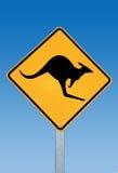 Een kangoeroewaarschuwingssein Australië Royalty-vrije Stock Foto's