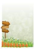 Een kantoorbehoeften met houten pijlen en omheining Stock Afbeeldingen
