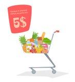 Een karretje met voedsel in de opslag Stock Foto
