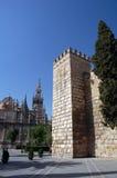 Een kasteelruïne in Sevilla, spai Stock Foto's