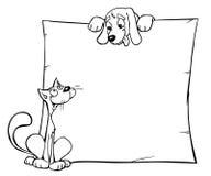 Een kat en een hond Stock Foto's