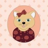Een kat met een bruine boog Royalty-vrije Stock Foto