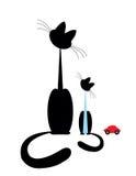 Een kat met een klein katje Stock Afbeeldingen