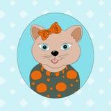 Een kat met een oranje boog Royalty-vrije Stock Foto