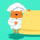 Een kattenchef-kok met menu Royalty-vrije Stock Afbeelding