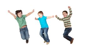 In een keer het springen van kinderen royalty-vrije stock afbeeldingen