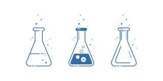 Een kegelfles Geplaatste pictogrammen Materiaal voor chemisch laboratorium Het Ontwerp van de lijn Vector stock illustratie