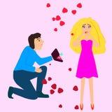 Een kerel die een overeenkomstenrecht op een meisje geven en zij is zeer verrast Stock Fotografie