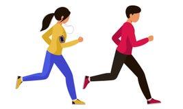 Een kerel met een meisje in bovenkledij ging voor een looppas Een paar een man en een vrouw die sporten samen doen stock illustratie
