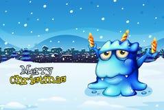 Een Kerstmiskaart met een blauwe monster dragende kaarsen Royalty-vrije Stock Afbeelding