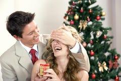Een Kerstmispaar Stock Foto