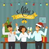 Een Kerstmispartij in het bureau Verfraaide bureauwerkplaats Bureauteam die een vakantie met muziek en dans hebben lijst met royalty-vrije stock afbeeldingen