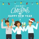 Een Kerstmispartij in het bureau Verfraaide bureauwerkplaats Bureauteam die een vakantie met muziek en dans hebben Vlakke stijlve royalty-vrije stock foto's